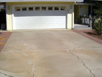 Crackes repaired in a concrete driveway